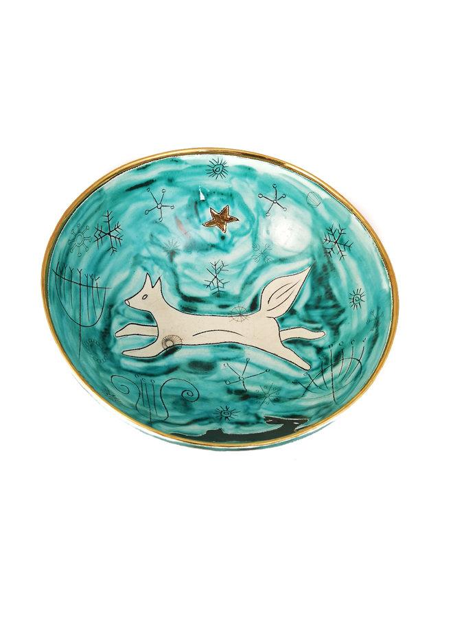 Fox in Night Sky Keramik- und Goldschale 024