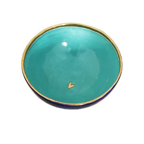 Sophie Smith Ceramics Bol pequeño corazón de cerámica y oro 027