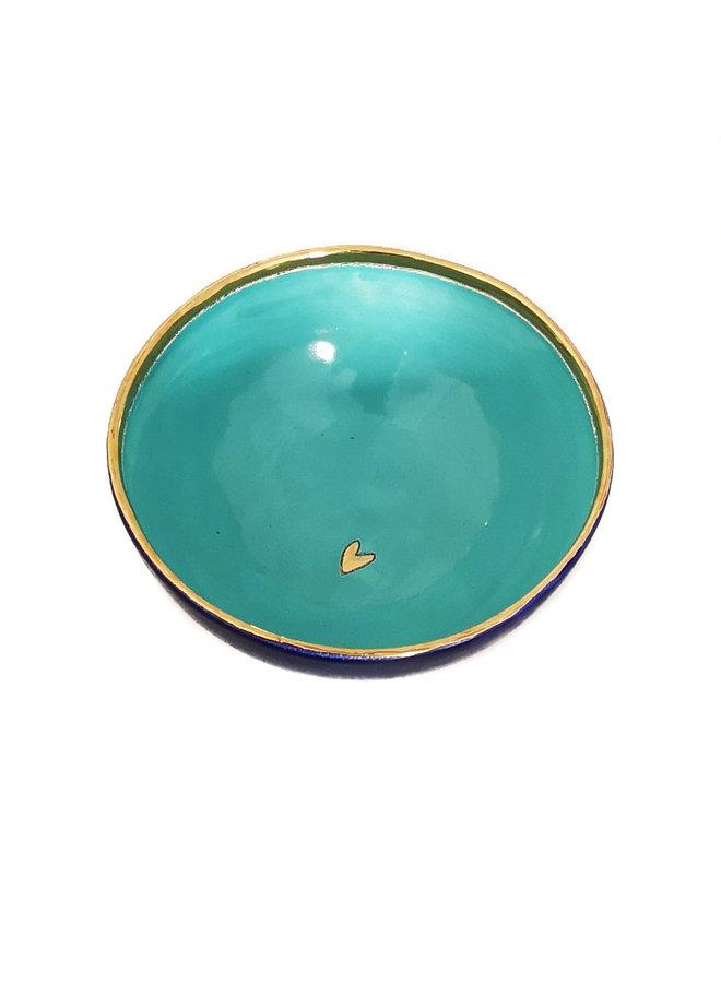 Herz Keramik und Gold kleine Schüssel 027