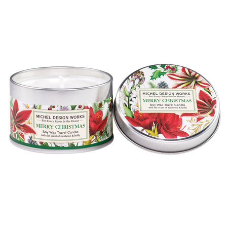 Michel Design Works Merry Christmas Travel Candle in a Tin