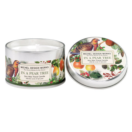 Michel Design Works In a Pear Tree Travel Candle in a Tin