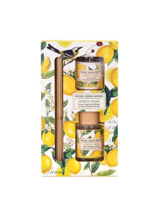 Zitronen-Basilikum-Diffusor & Votivkerzen-Set