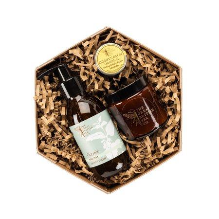 The Great British Bee Co. Melissa Gift Set Bijenwas Balsem, Wasmiddel & Kaars