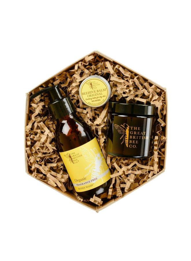 Duftfreies Geschenkset Bienenwachsbalsam, Waschmittel & Kerze