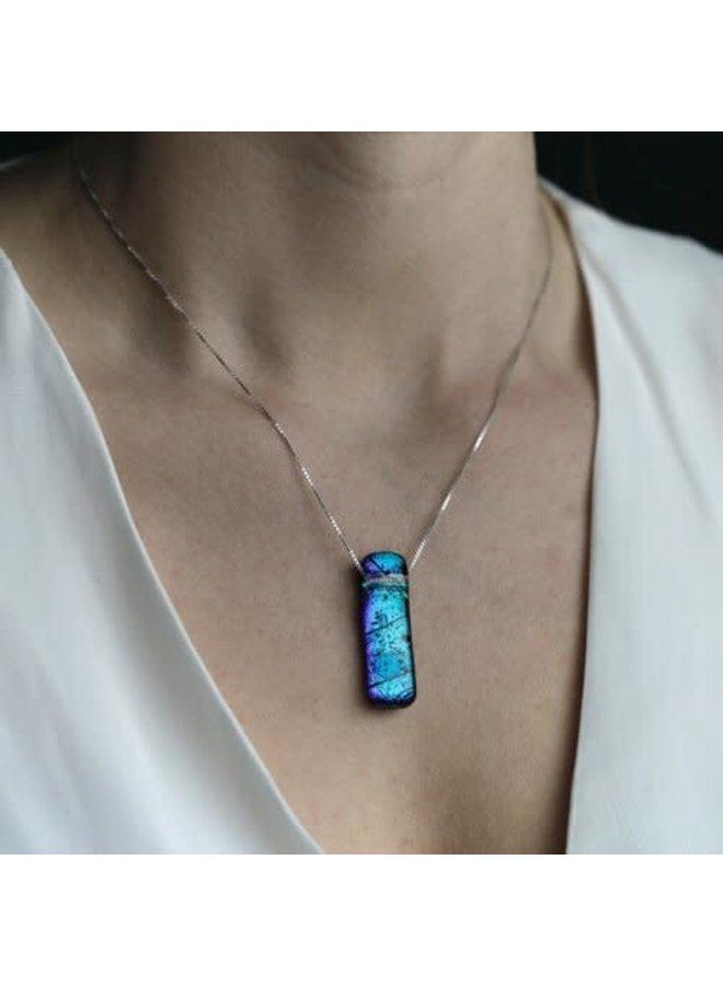 Dichroitische Glas Anhänger Aqua Liliput 01