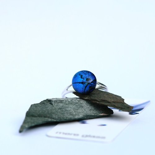 Mere Glass Dark Blue Dichroic Glass and Silver adjustable ring  22