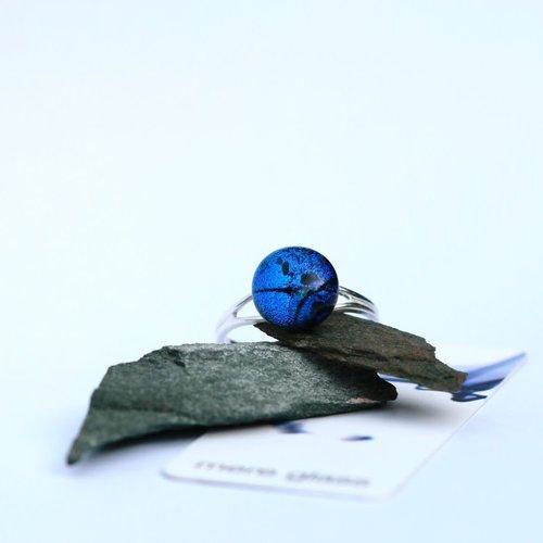 Mere Glass Verstellbarer Ring aus dunkelblauem dichroitischem Glas und Silber 22