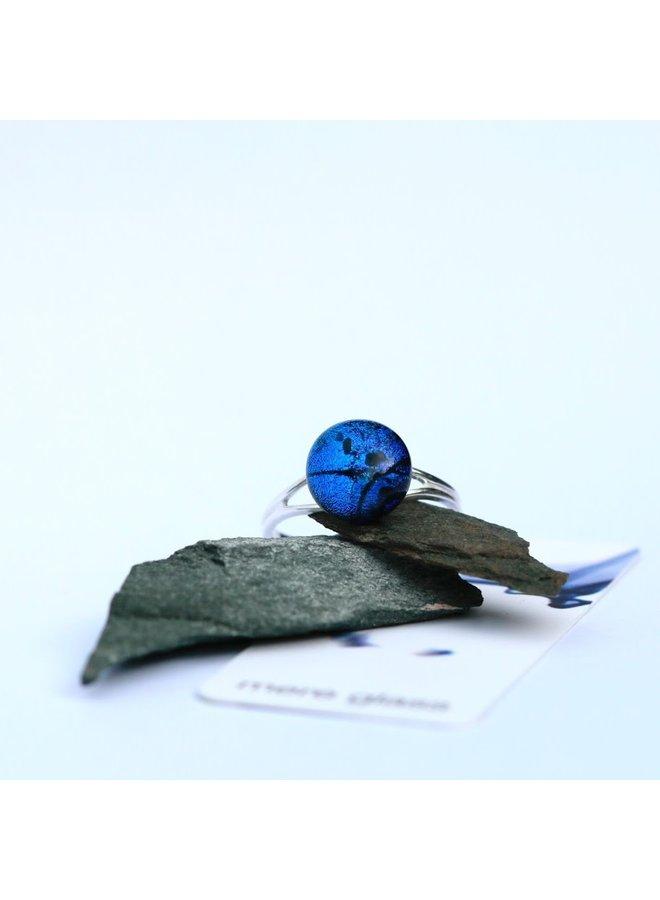 Verstellbarer Ring aus dunkelblauem dichroitischem Glas und Silber 22