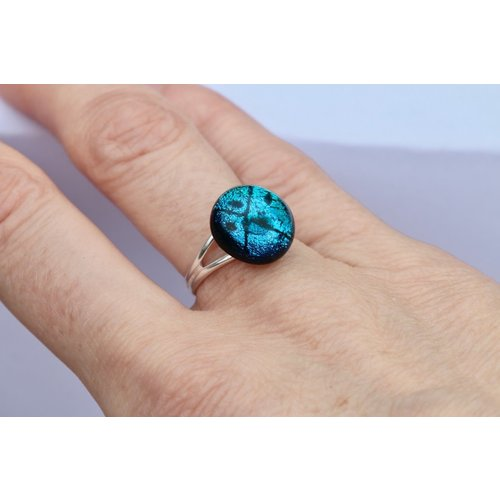 Mere Glass Ice Blue Dichroic Glass and Silver adjustable ring  23