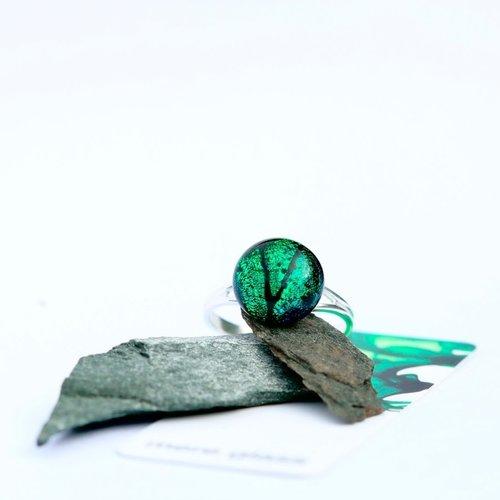 Mere Glass Verstellbarer Ring aus smaragdgrünem dichroitischem Glas und Silber 24