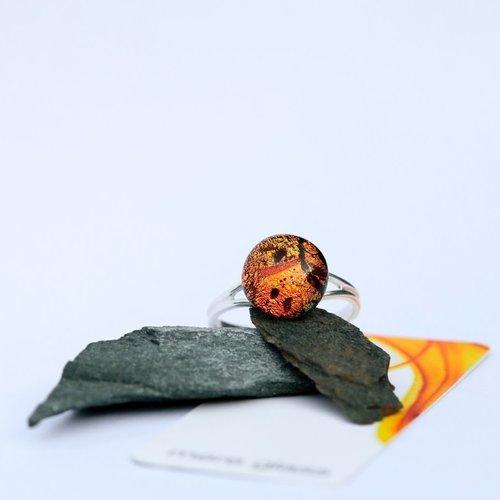 Mere Glass Herbst Dichroic Glas und Silber verstellbarer Ring 25