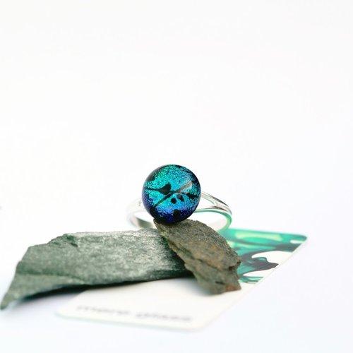 Mere Glass Verstellbarer Ring aus aqua dichroitischem Glas und Silber 26