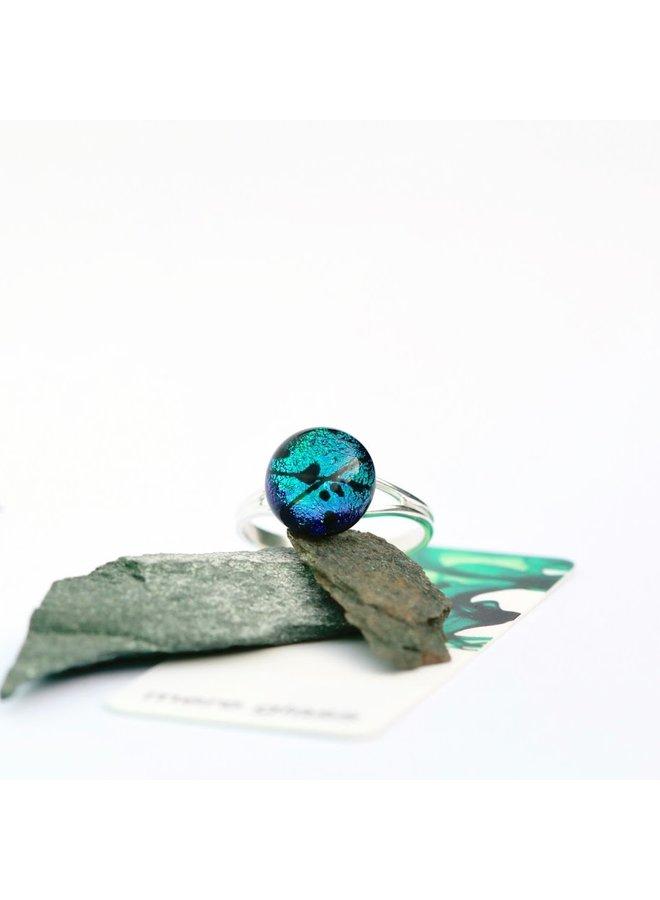 Verstellbarer Ring aus aqua dichroitischem Glas und Silber 26