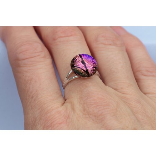 Mere Glass Pink & Purple Dichroic Glass and Silver adjustable ring  27