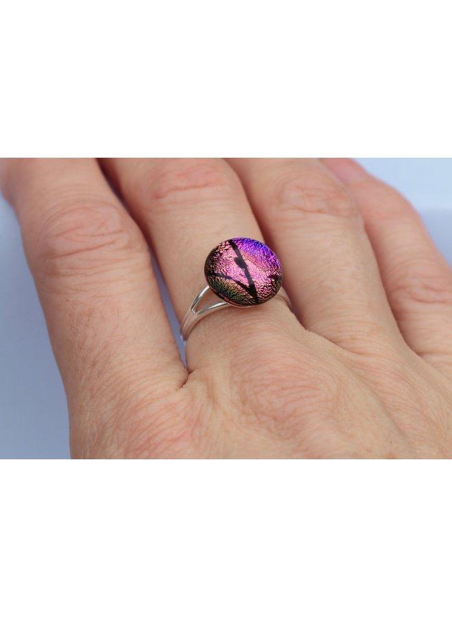 Rosa & Lila Dichroic Glas und Silber verstellbarer Ring 27