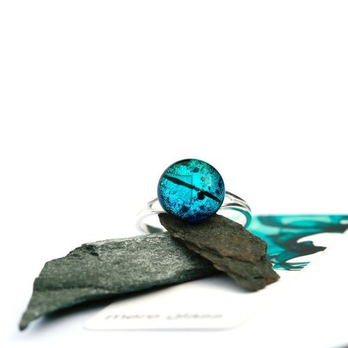 Mere Glass Teal Dichroic Glass und Silver verstellbarer Ring 28