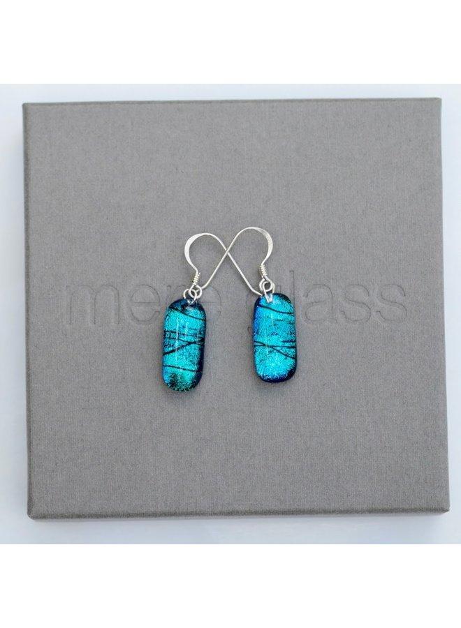 Teal Dichroic Glass und Silver Drop Ohrringe 31