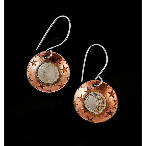 Inky Linky Ronde maan in sterren koperen en zilveren oorbellen 11