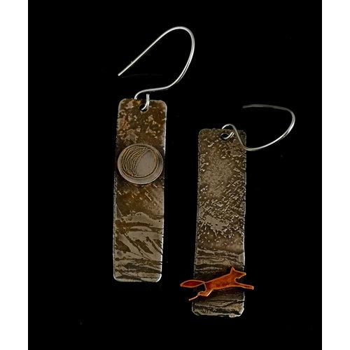 Inky Linky Fox in Fields silver and copper long earrings 06