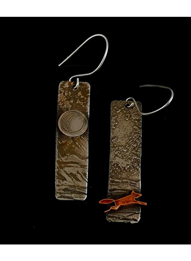 Fox in Fields Silber und Kupfer lange Ohrringe 06