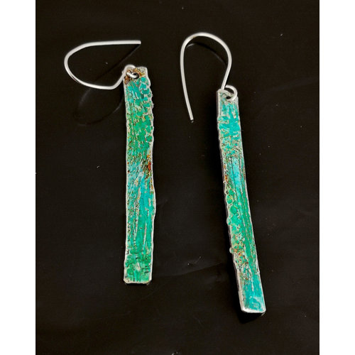 Inky Linky Long patina silver earrings 07