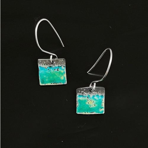 Inky Linky Quadratische Emaille Silber Tropfen Ohrringe 13