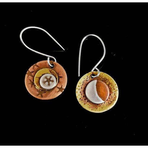 Inky Linky Himmelsohrringe aus Messing, Kupfer und Silber 16