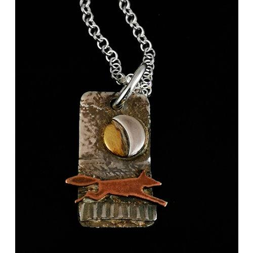 Inky Linky Fox in Fields  brass, copper and silver  pendant 17