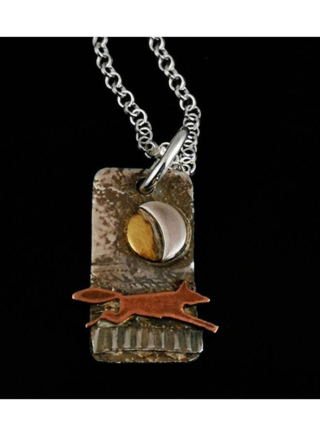 Fox in Fields  brass, copper and silver  pendant 17