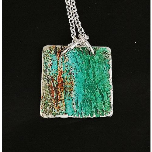 Inky Linky Zilveren gepatineerde vierkante hanger 19