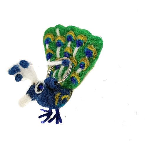Felt So Good Peacock  Felt Key Ring 32