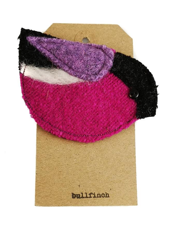 Bulfinch Purple Bird Filz Brosche 07