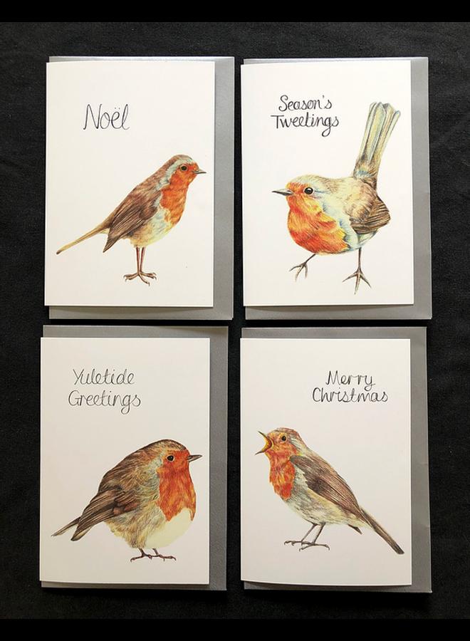 Robin Xmas Cards 8 pack varied designs  47