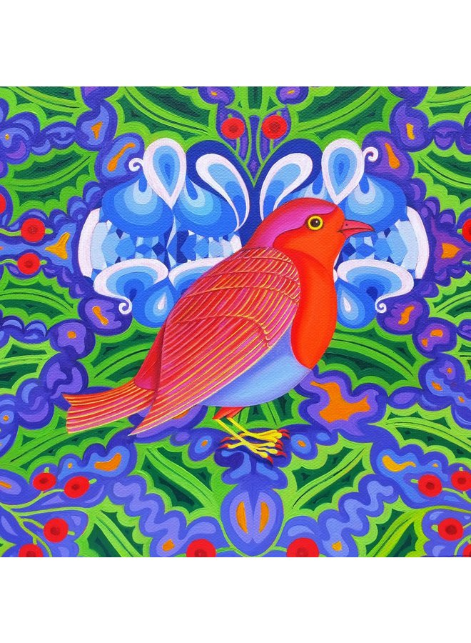 Weihnachts Robin Karte 15 x 15 cm