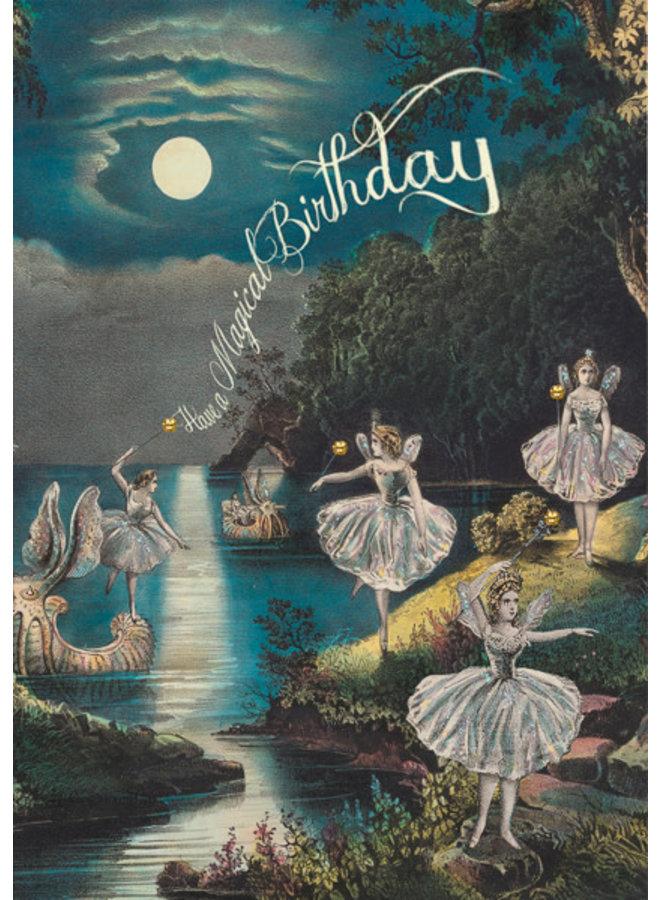 Fairy Grotto Magic Birthday glitter  card