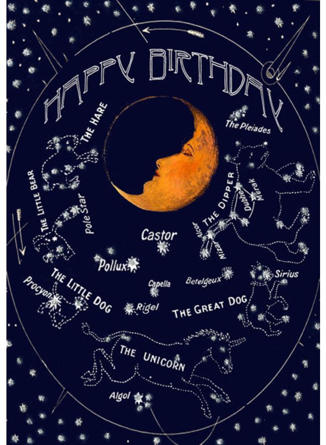 Sleeping Moon  Birthday glitter  card