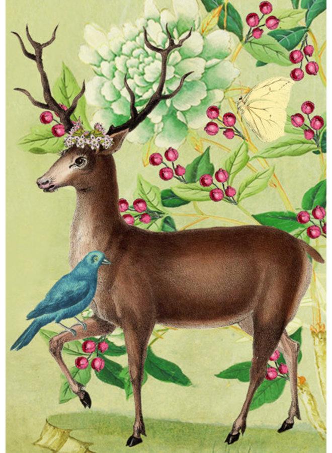 Blue Bird and Deer Card