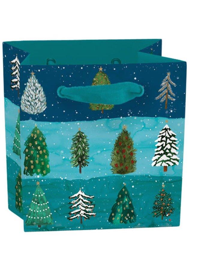 Festliche Nadelbaum Mini Geschenk Tasche mit Tag
