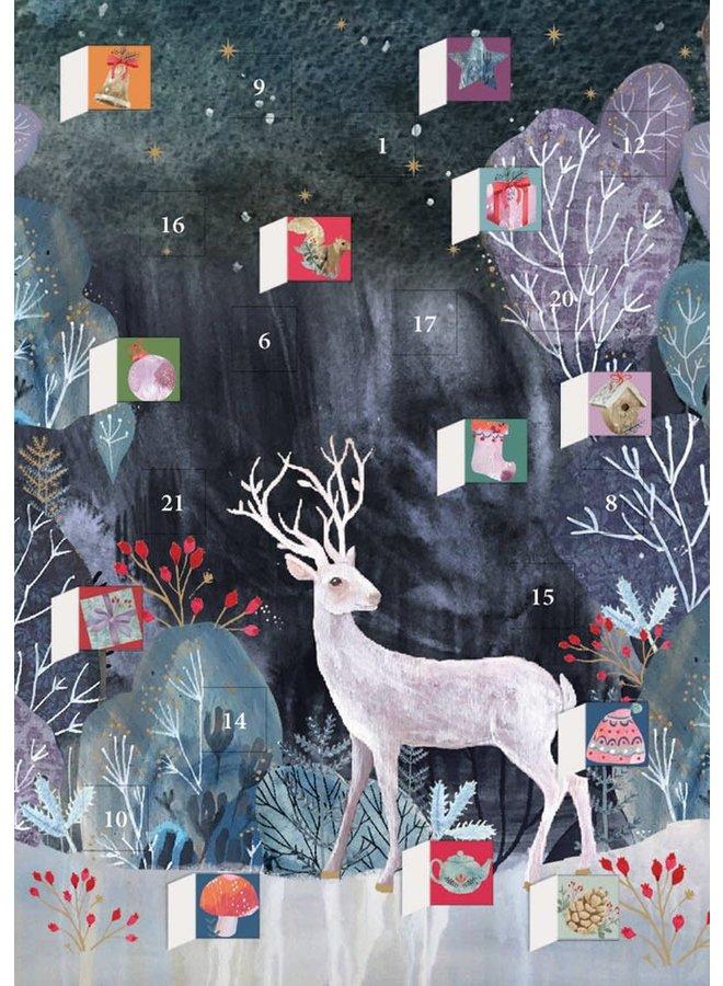 Silver Stag Advent Calendar Card