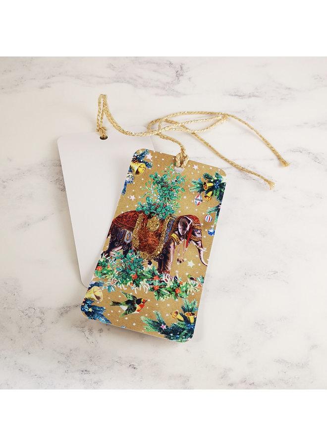 Mistletoe Elephant  Vintage Glitter Gift Tag 86