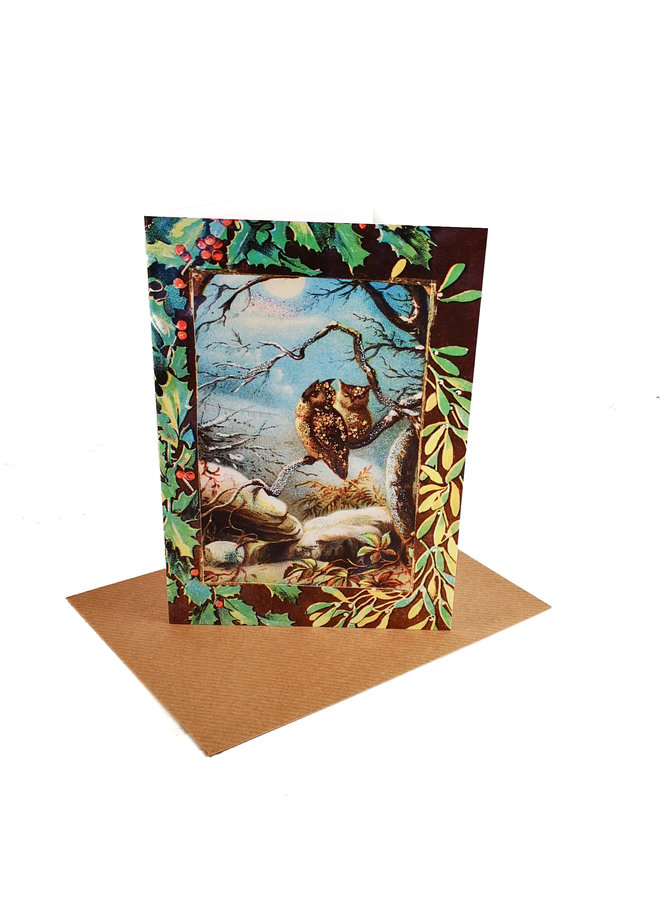 Winter Owls Vintage Glitter Card 78