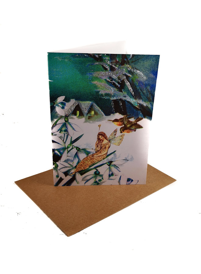 Snowdrops Vintage Glitter Card 79