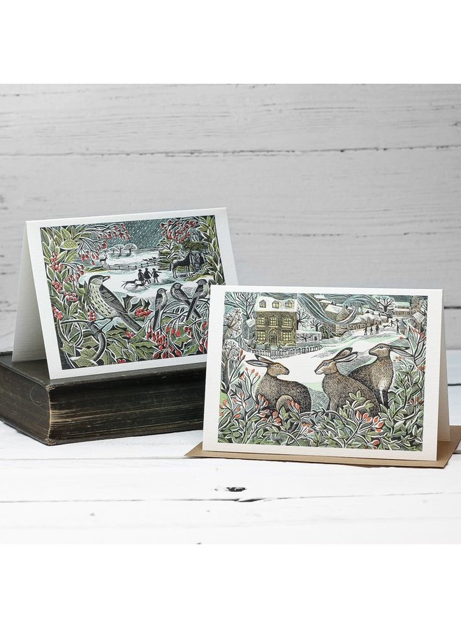 Holly Hedge and We Three Hares  10 Notecards by Angela Harding