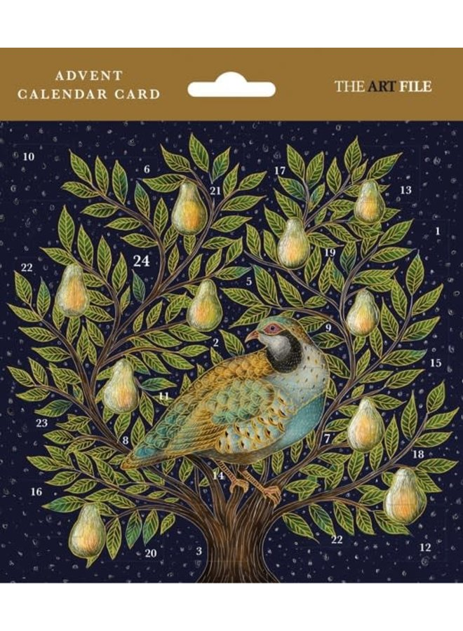 Partridge in a Pear Tree Guilded Advent card by Catherine Rowe