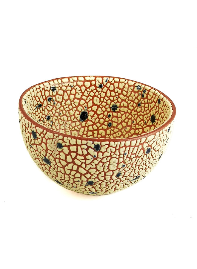 Crackle Round Green Dot Medium Bowl 19