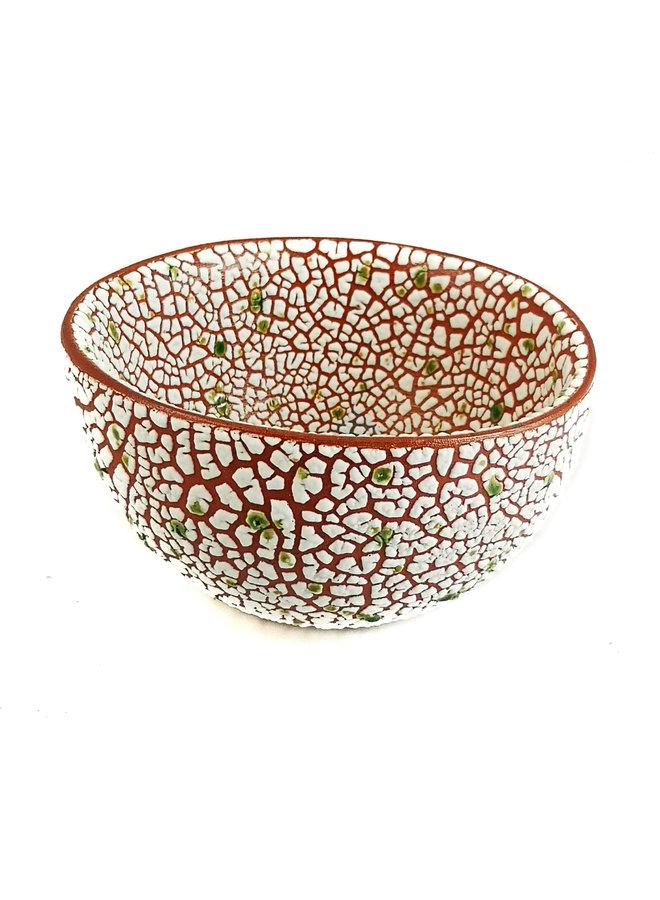Crackle Round Lime Dot Medium Bowl 20