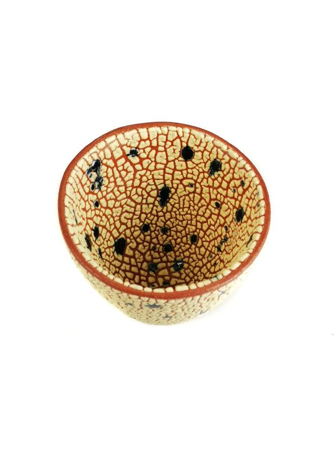 Tall Crackle green dot bowl 23