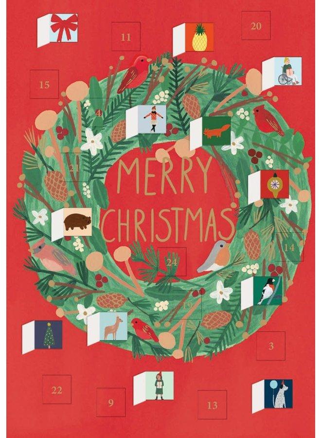 Christmas Wreath Advent Calendar Card