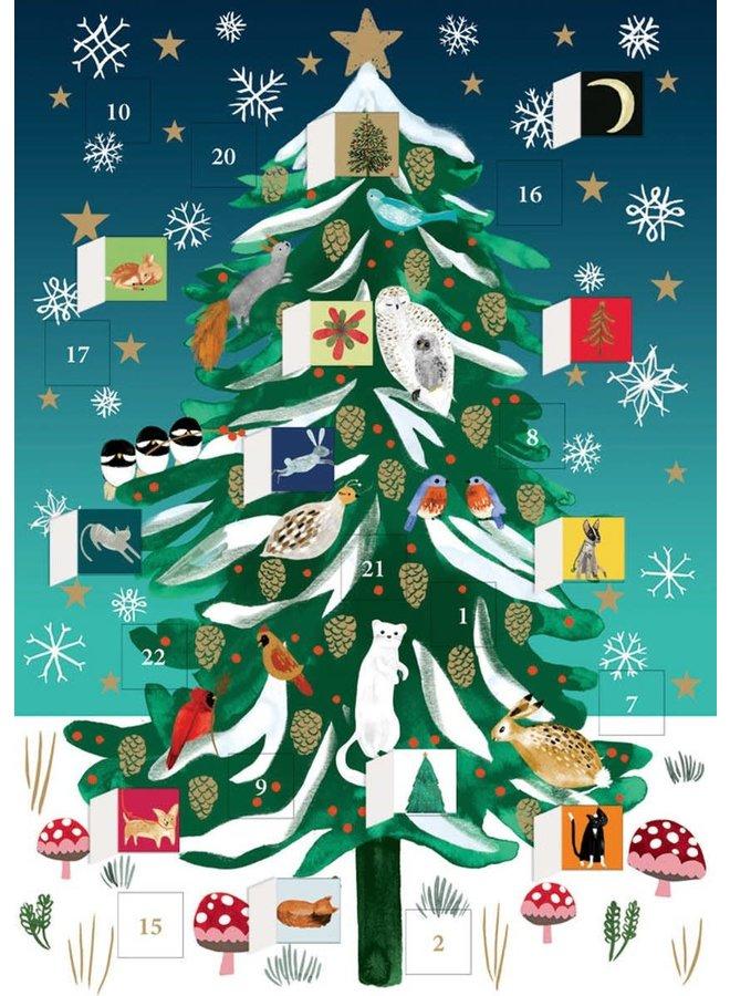 Christmas Tree Advent Calendar Card