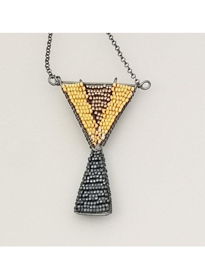 Geometrische Glasperle & Anhänger aus oxodiertem Silber 37